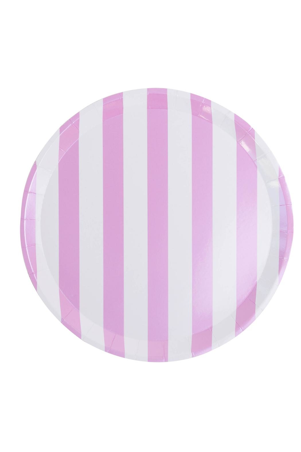 Jollity & Co Pink & White Striped Dinner Plate - Main Image
