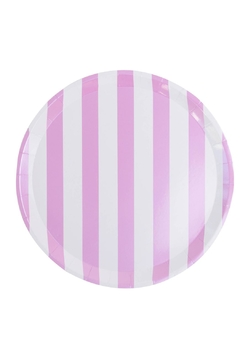 Jollity & Co Pink & White Striped Dinner Plate - Product List Image