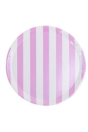Jollity & Co Pink & White Striped Dinner Plate - Front cropped