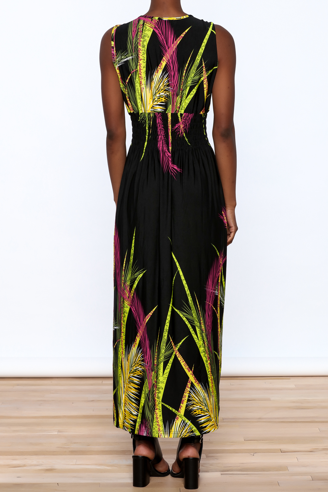 Jon & Anna Floral Black Maxi Dress - Back Cropped Image