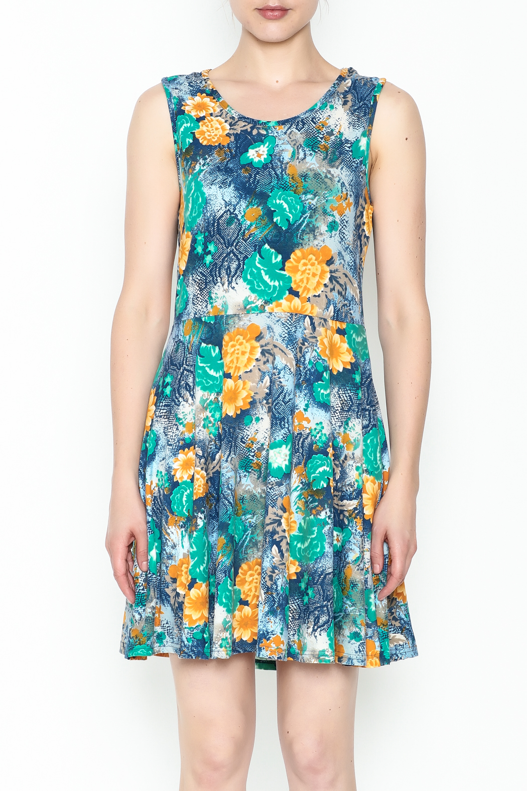 Jon & Anna Green Floral Dress - Front Full Image