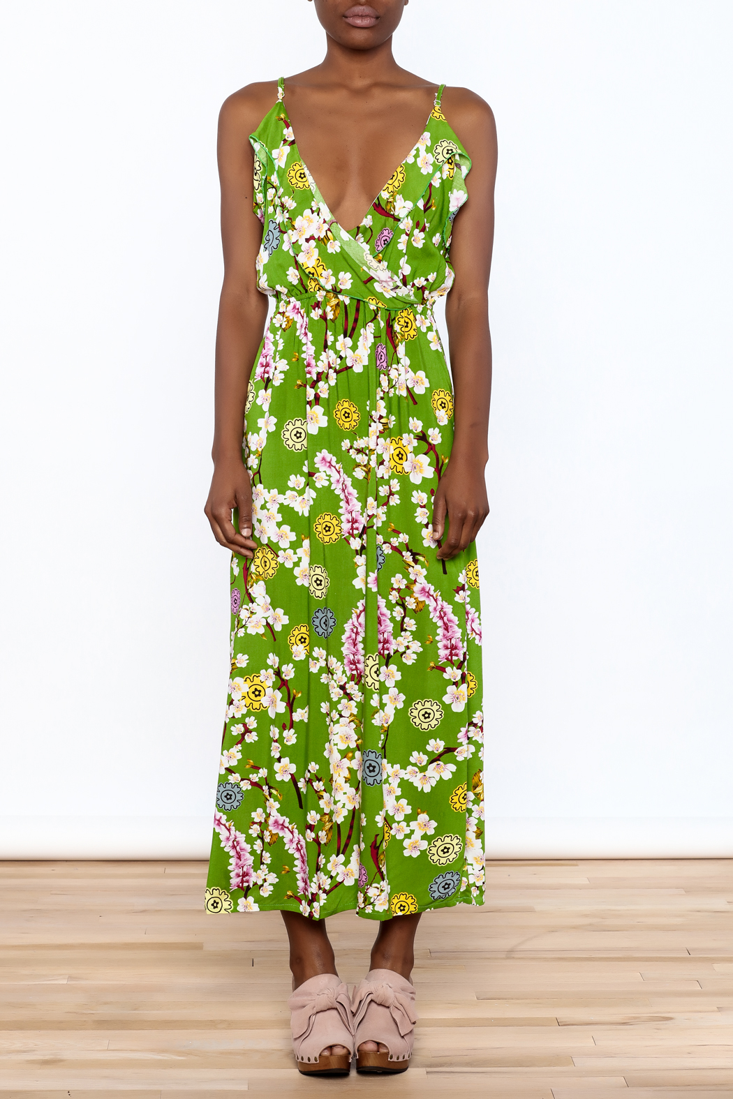 Jon & Anna Green Floral Maxi Dress - Front Cropped Image