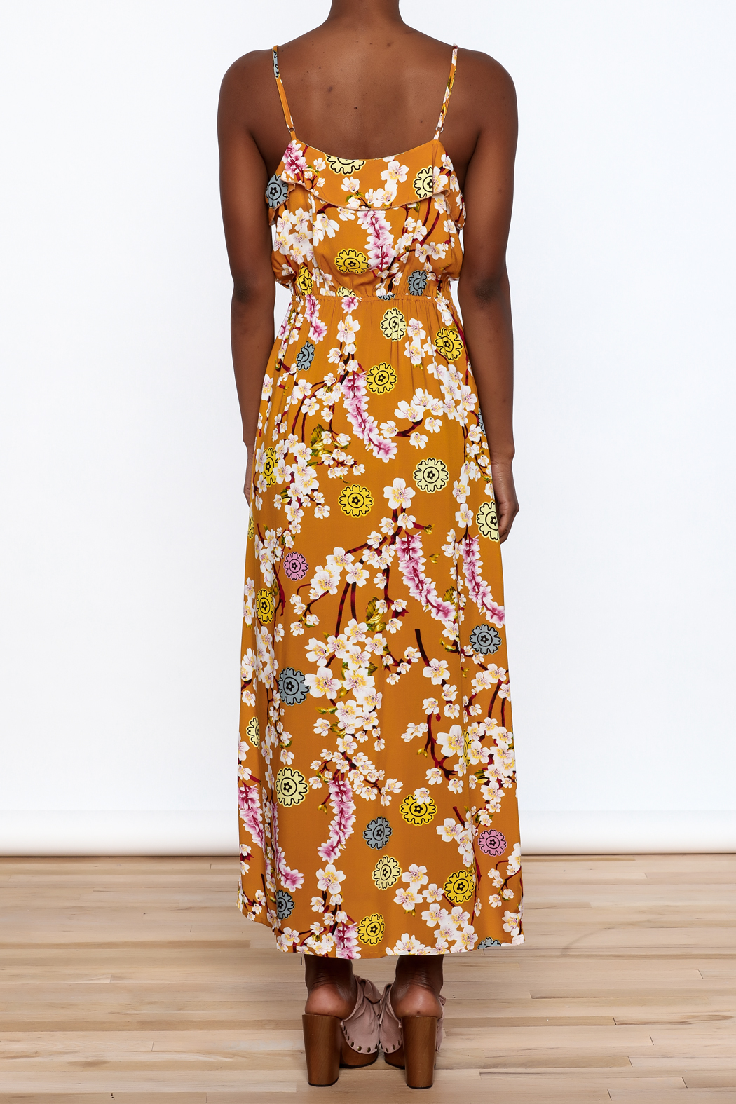 Jon & Anna Mustard Floral Maxi Dress - Back Cropped Image