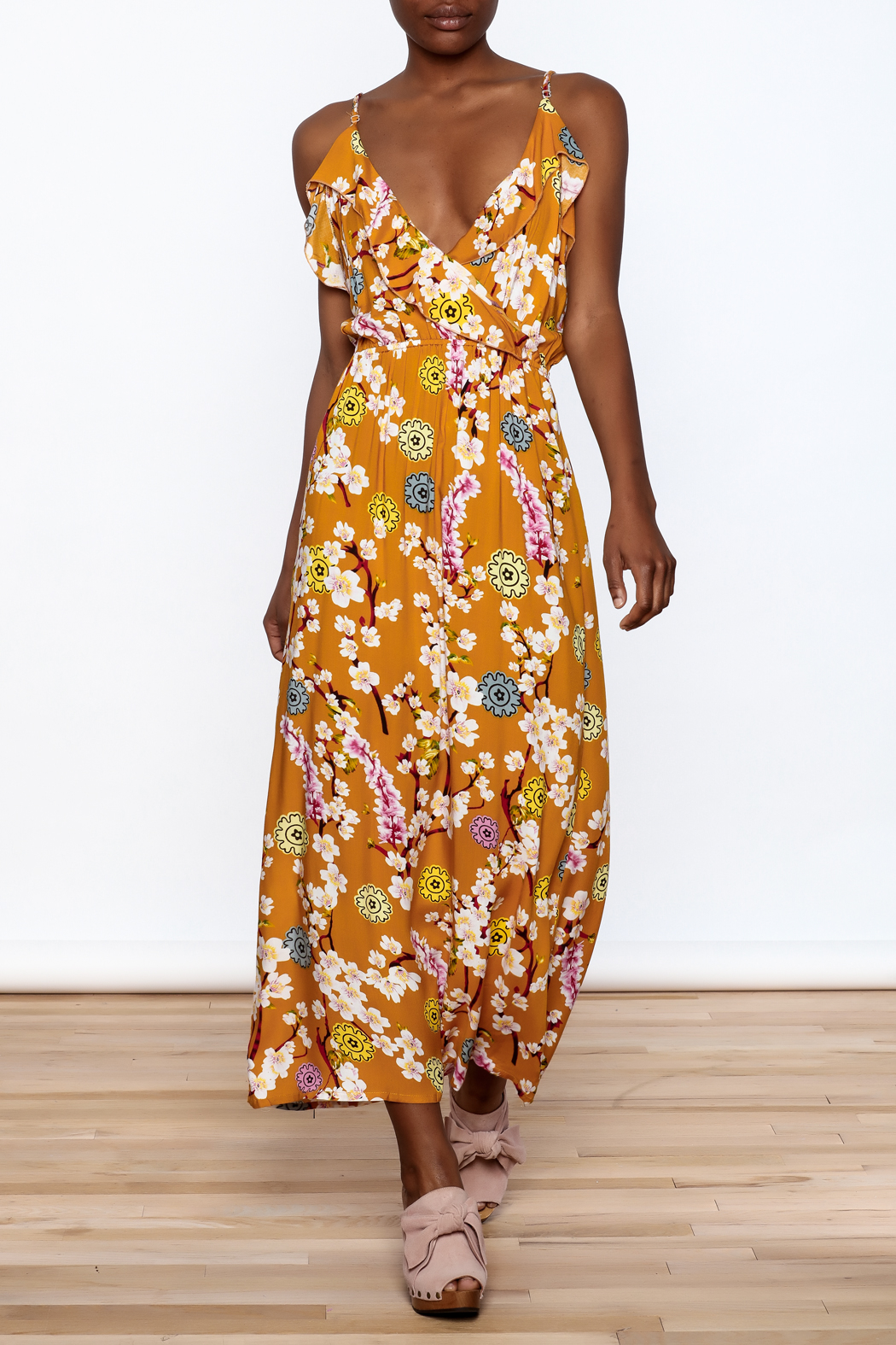 Jon & Anna Mustard Floral Maxi Dress - Main Image