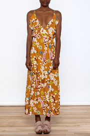 Jon & Anna Mustard Floral Maxi Dress - Front cropped