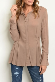 Joompy Mocha Tunic Blouse - Product Mini Image