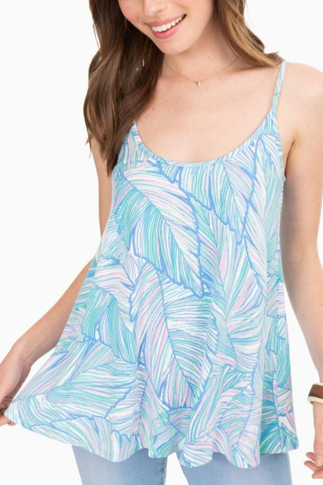 Southern Tide Jorie Palm-Print Tank - Front Full Image
