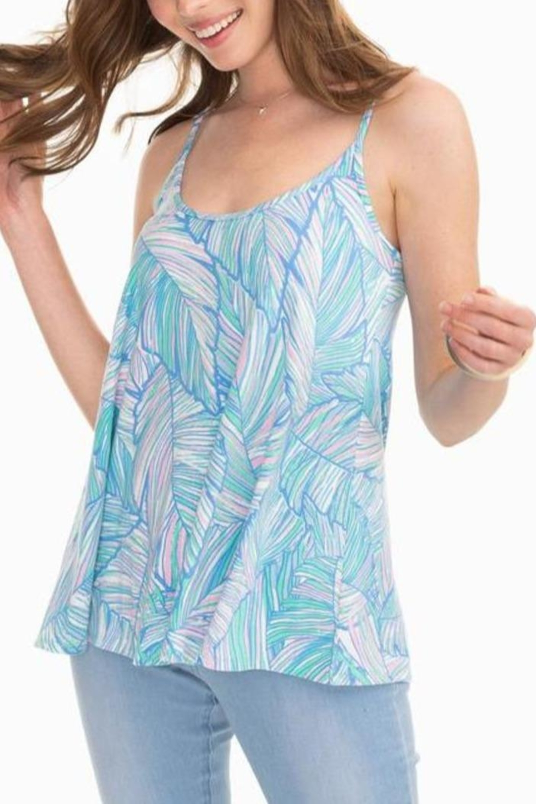 Southern Tide Jorie Palm-Print Tank - Front Cropped Image