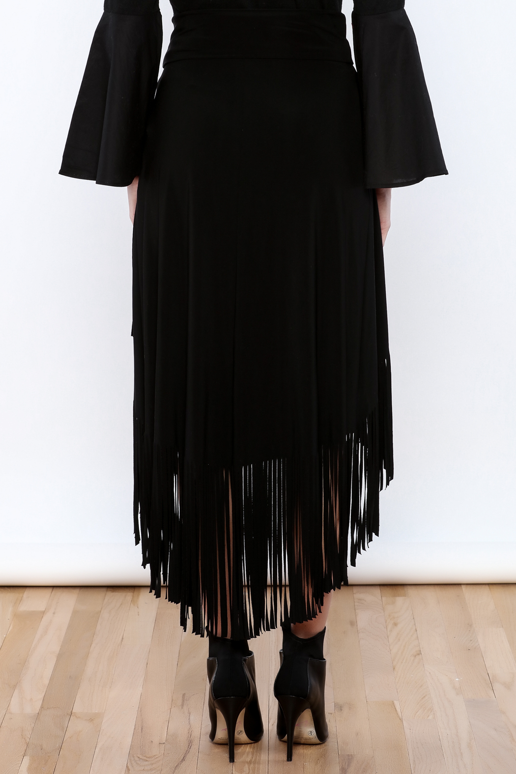 Joseph Ribkoff Fringed Skirt - Back Cropped Image