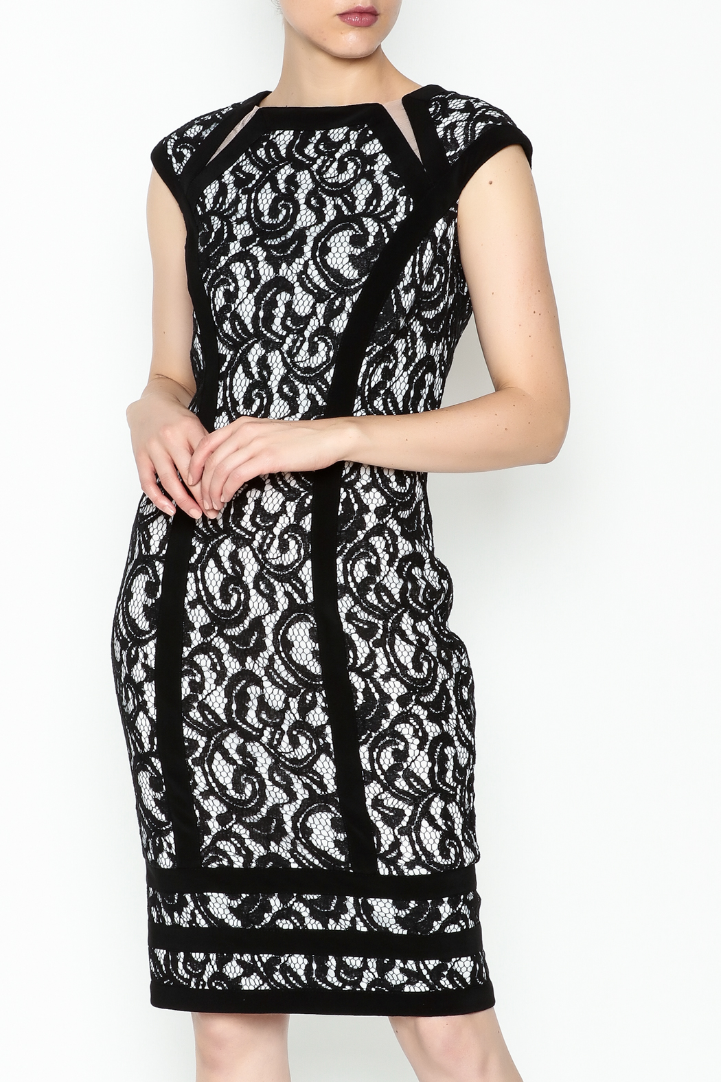 Joseph Ribkoff Lace Overlay Dress - Front Cropped Image