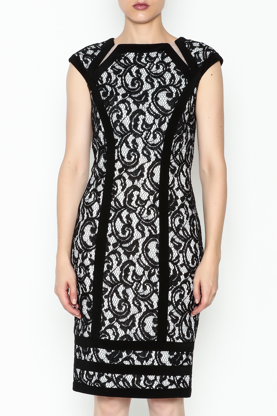 Joseph Ribkoff Lace Overlay Dress - Front Full Image