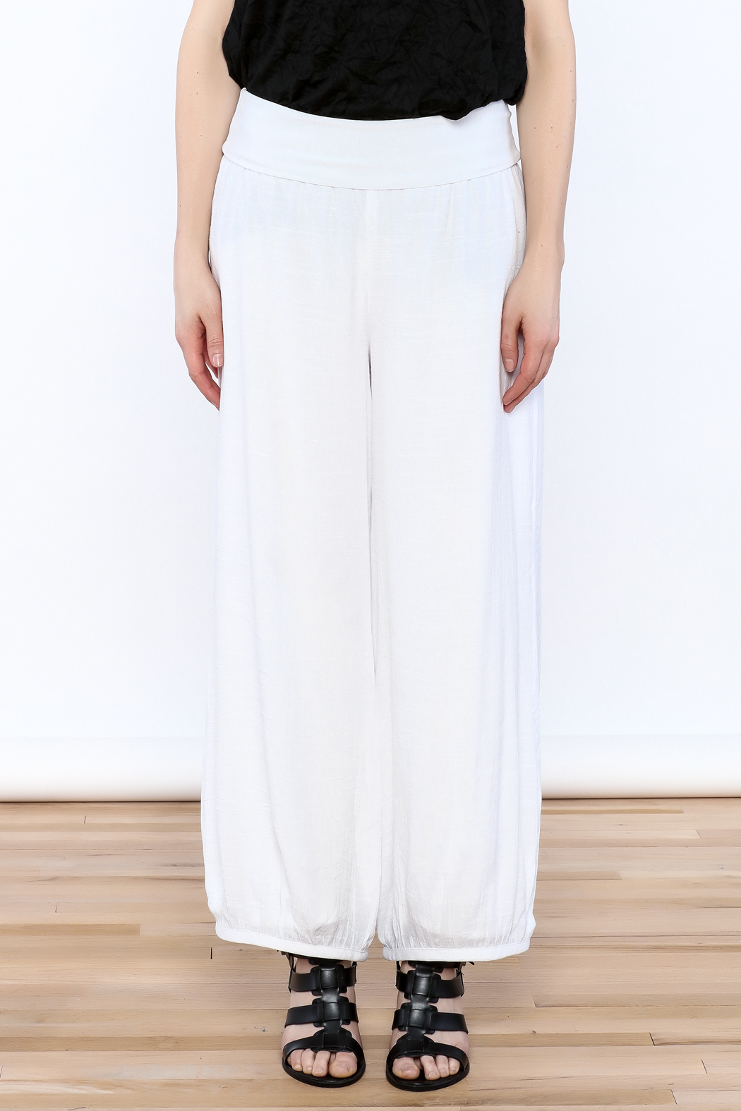 Joseph Ribkoff White Palazzo Pants - Side Cropped Image