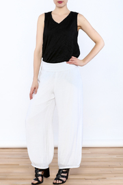 Joseph Ribkoff White Palazzo Pants - Front full body