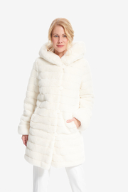 Joseph Ribkoff Reversible Faux Fur Hooded Coat - Front cropped