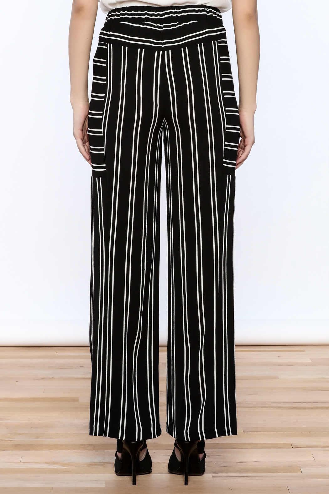 Joseph Ribkoff Striped Palazzo Pant - Back Cropped Image