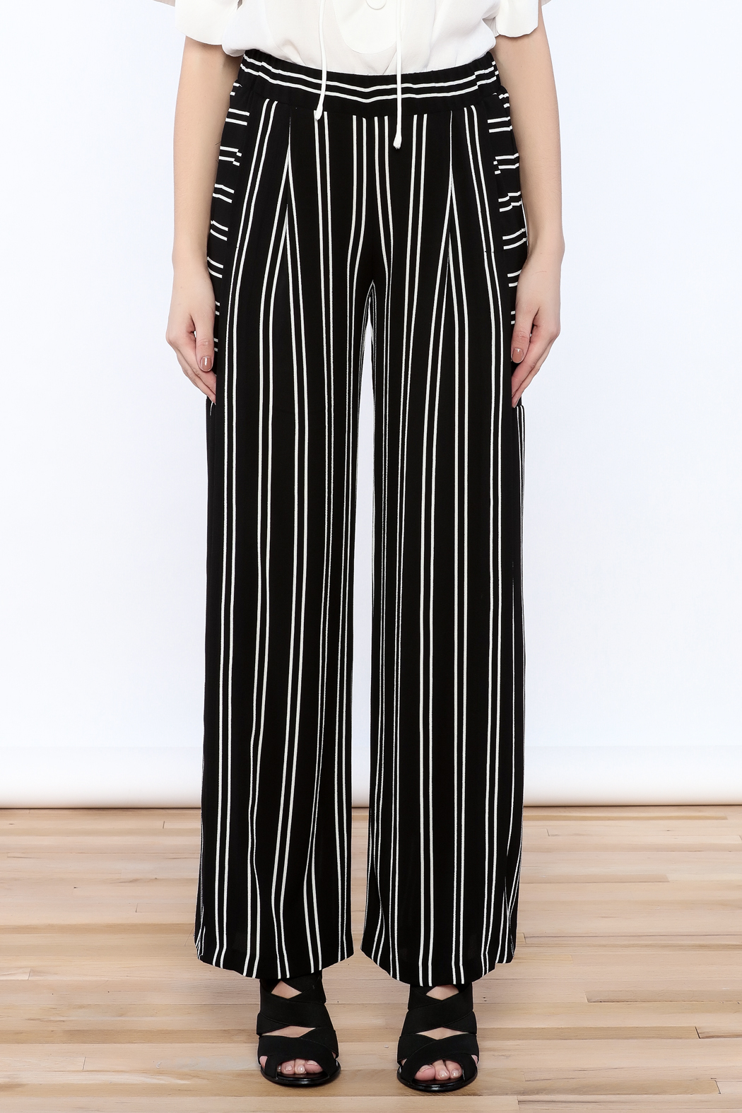 Joseph Ribkoff Striped Palazzo Pant - Side Cropped Image