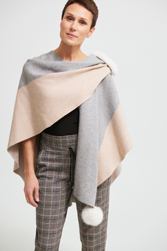 Joseph Ribkoff Sweater Wrap Cover Up with Faux Fur Trim - Product List Image
