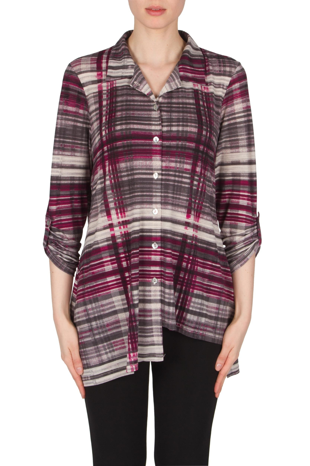 Joseph Ribkoff Asymmetrical Interest Shirt Top - Front Cropped Image