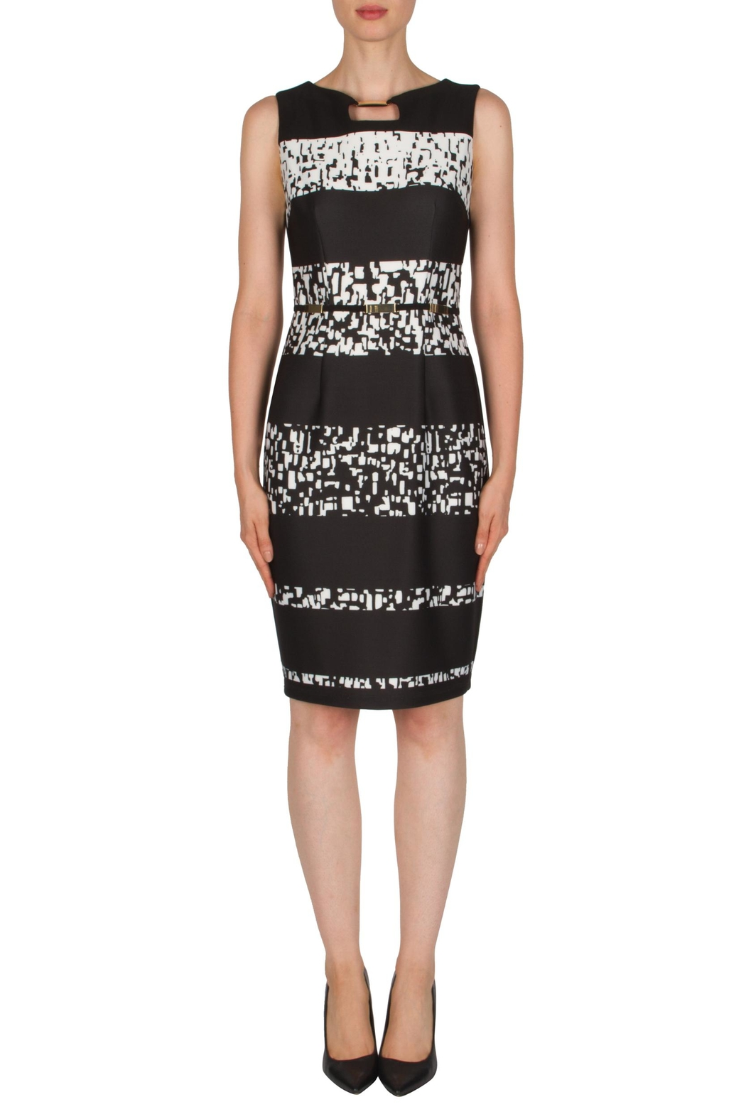Joseph Ribkoff Banded Printed Dress - Front Cropped Image