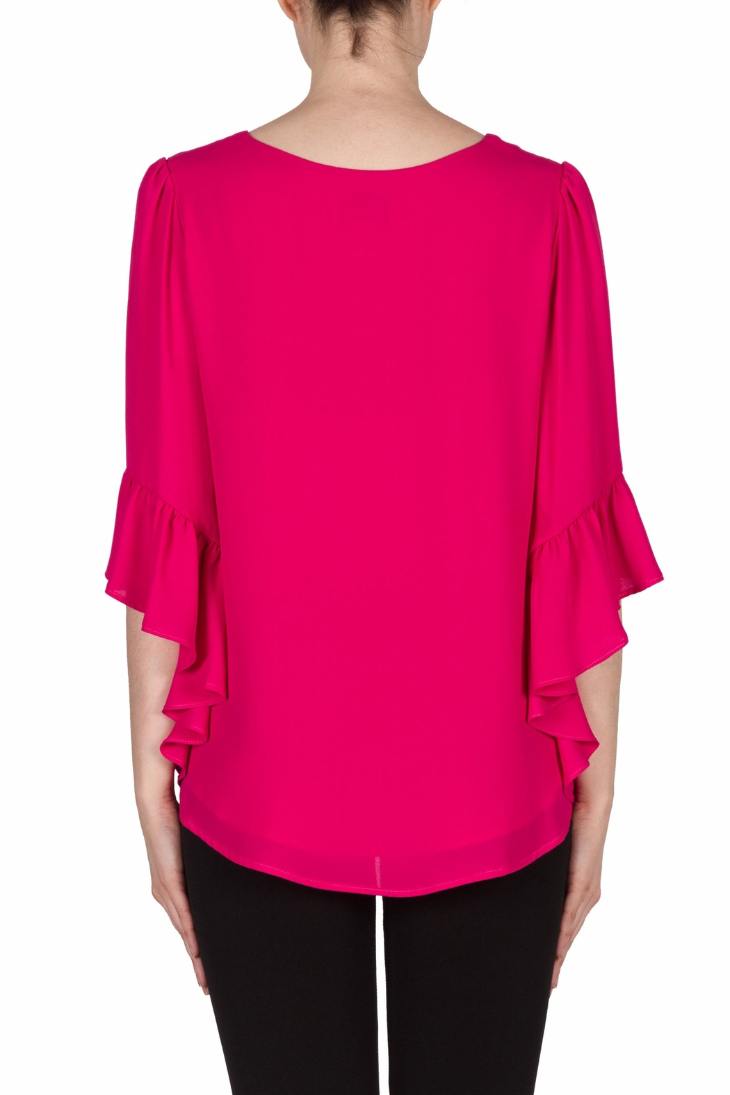 Joseph Ribkoff Magenta Bell Sleeve Top - Side Cropped Image