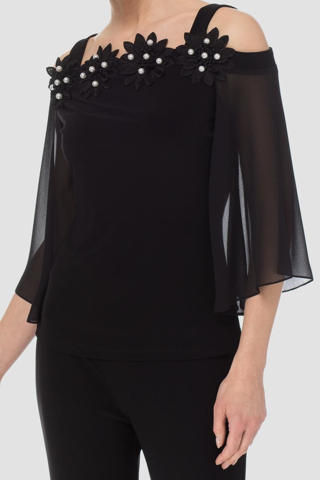 Joseph Ribkoff Black Applique Top - Front Cropped Image