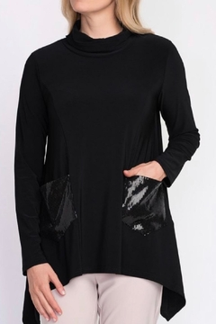 Joseph Ribkoff Black Cowl Tunic With Shimmer - Alternate List Image