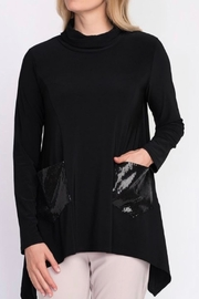 Joseph Ribkoff Black Cowl Tunic With Shimmer - Front cropped