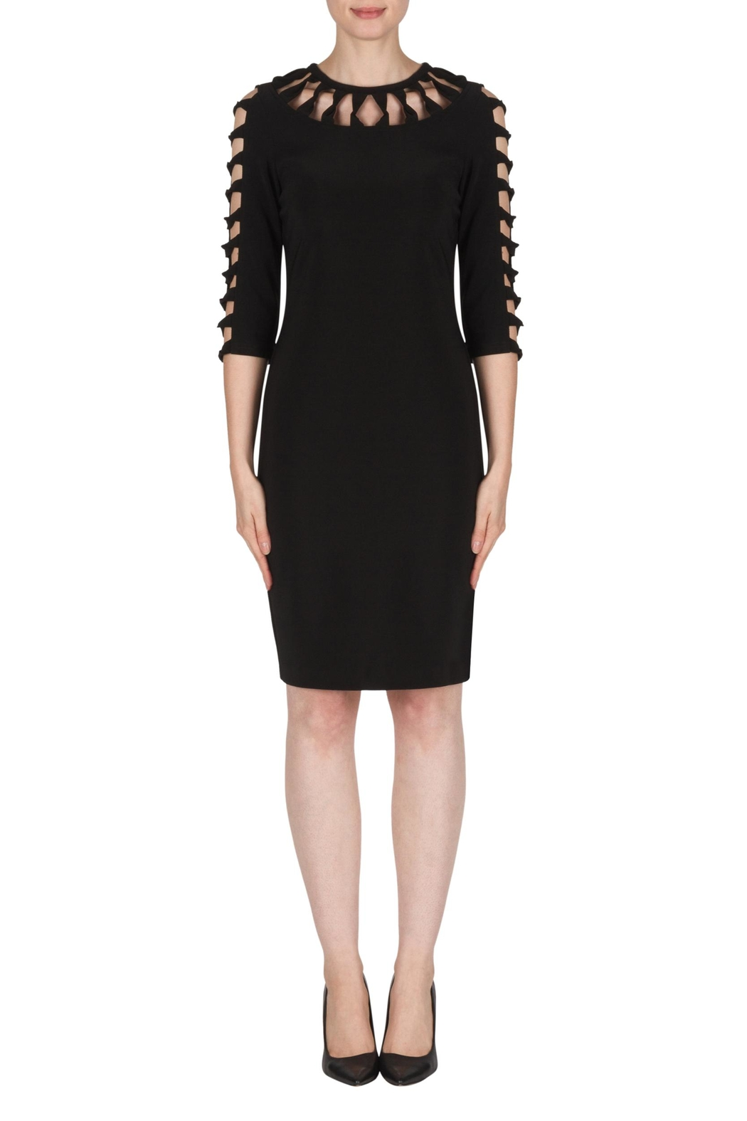 Joseph Ribkoff Black Cut-Outs Dress - Front Cropped Image