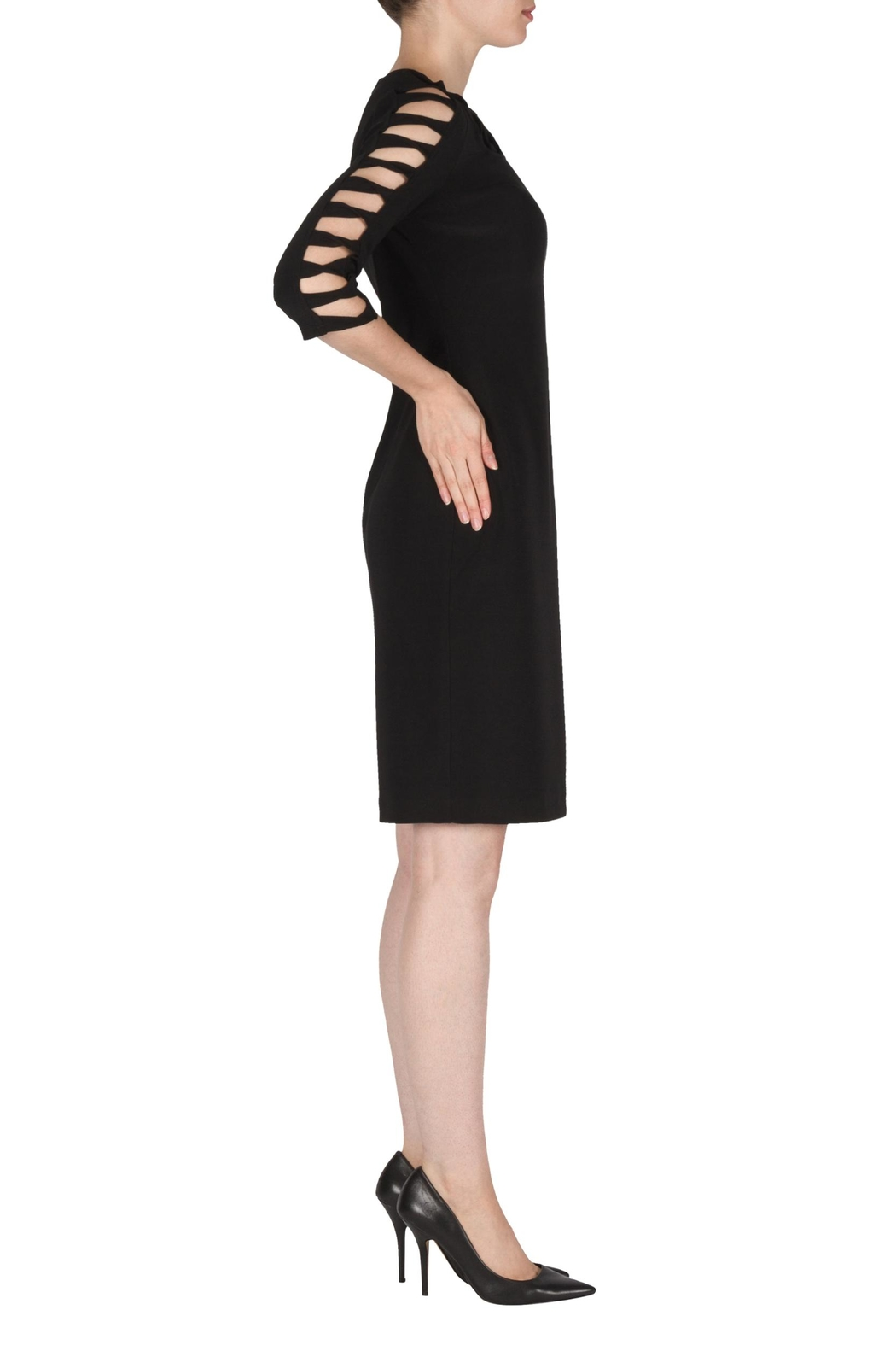 Joseph Ribkoff Black Cut-Outs Dress - Front Full Image