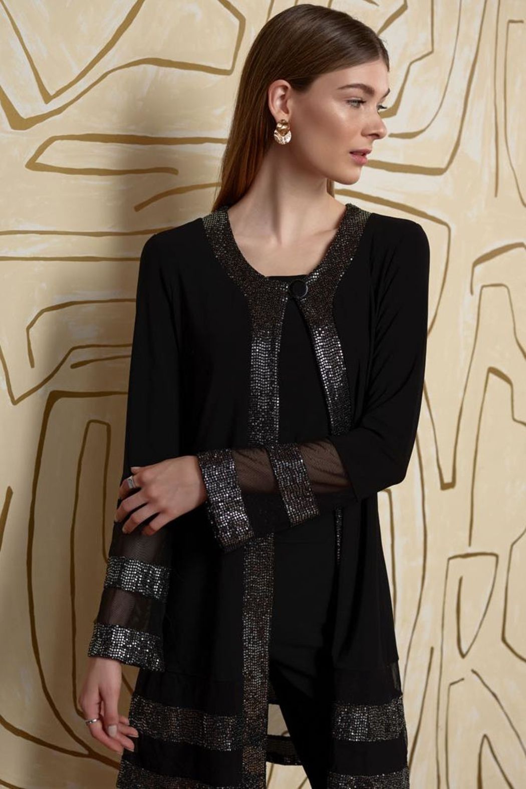 Joseph Ribkoff Black/silver Dressy Coverup - Back Cropped Image