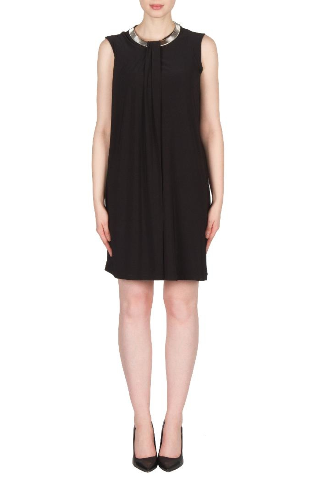 Joseph Ribkoff Black Collar Dress - Front Cropped Image