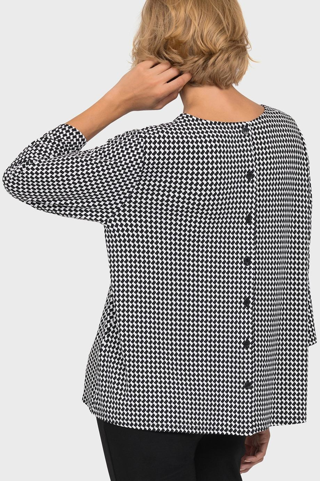 Joseph Ribkoff Black/off-White Checked Top - Side Cropped Image