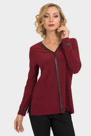 Joseph Ribkoff Burgundy/black Trim Top - Product Mini Image