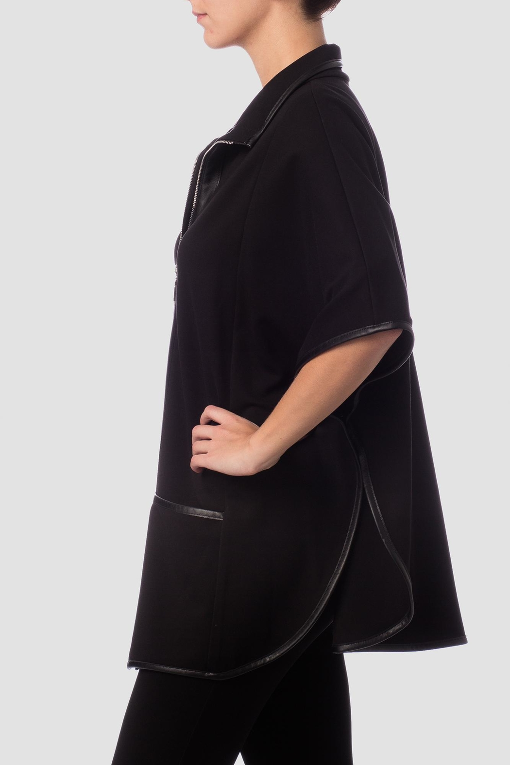 Joseph Ribkoff Black Cape Top - Side Cropped Image
