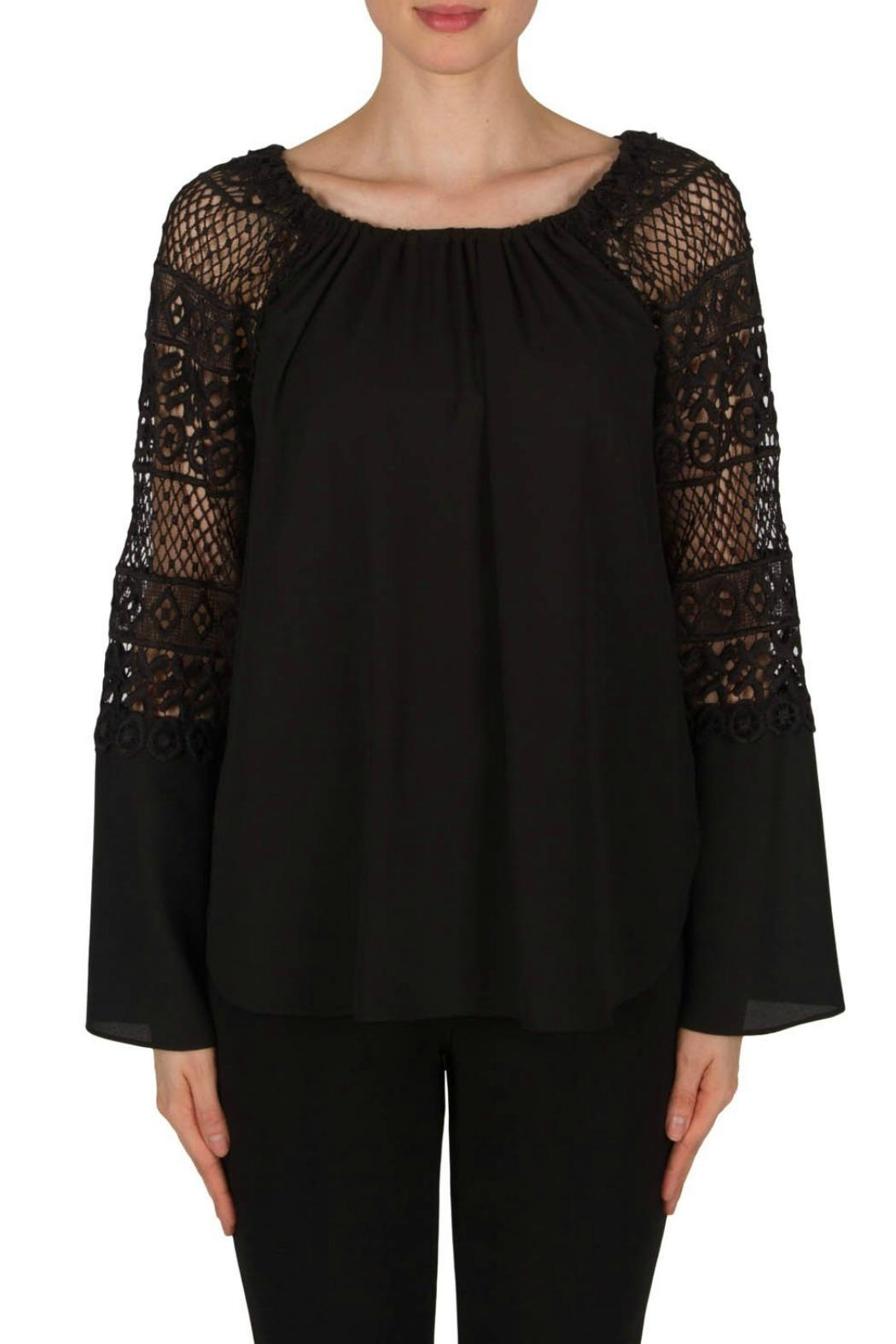 Joseph Ribkoff Crochet Bell Sleeve - Front Cropped Image