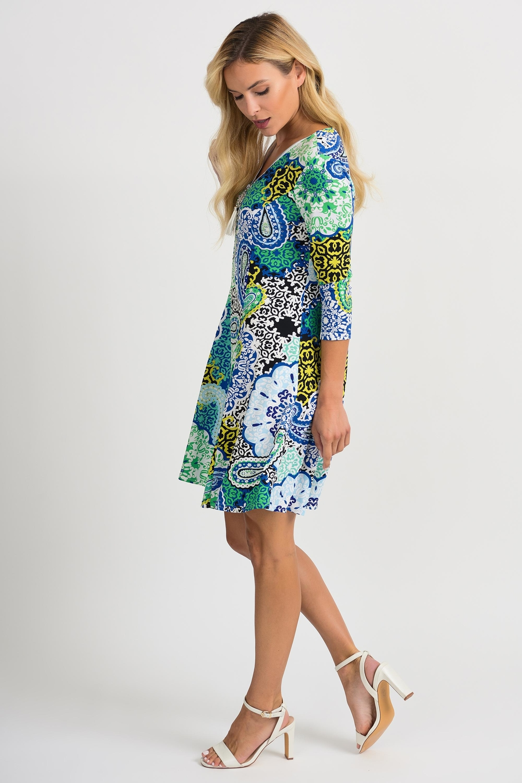 Joseph Ribkoff Crystal Printed Dress - Front Full Image