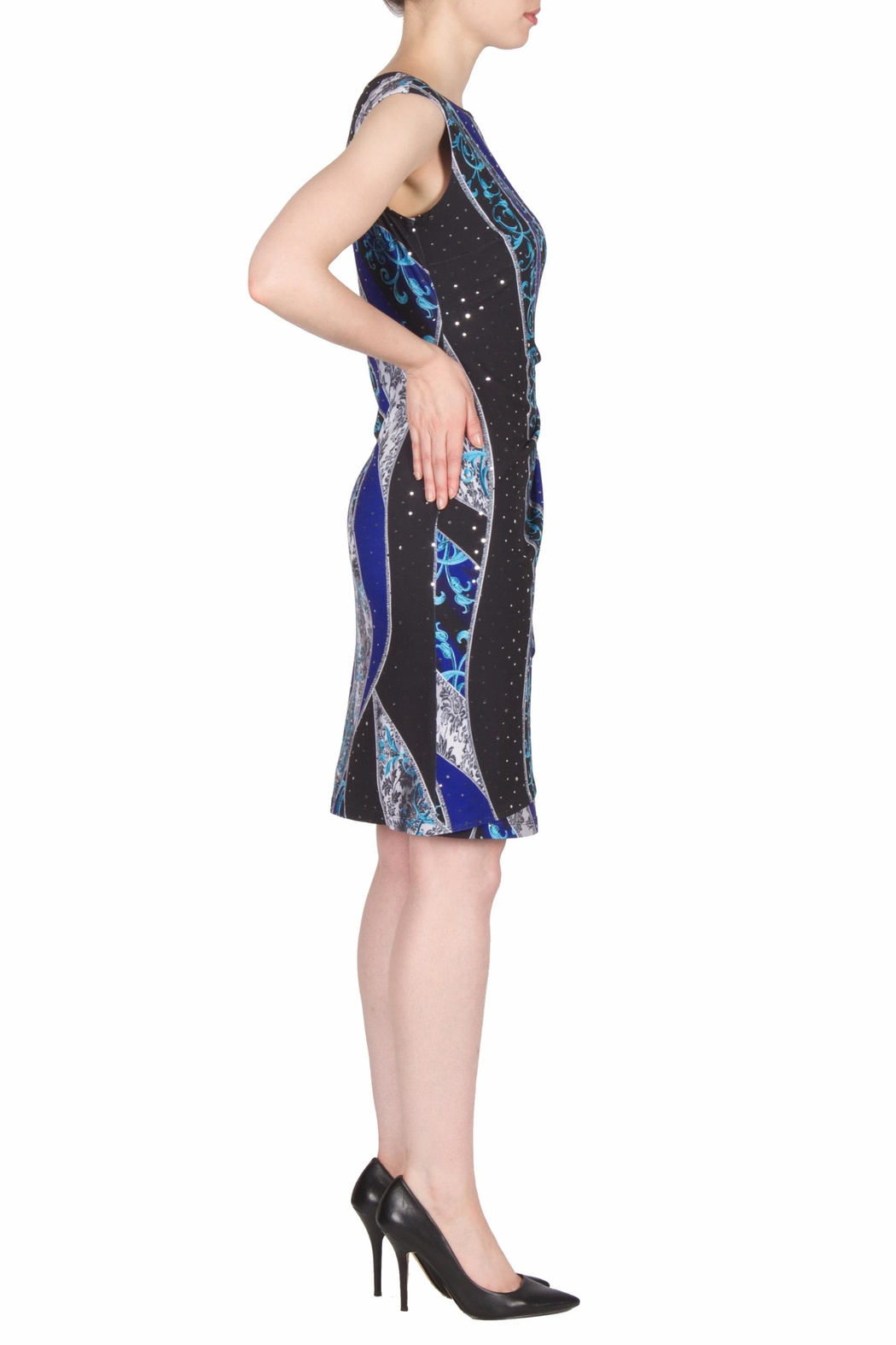 Joseph Ribkoff Crystal Ruched Dress - Side Cropped Image