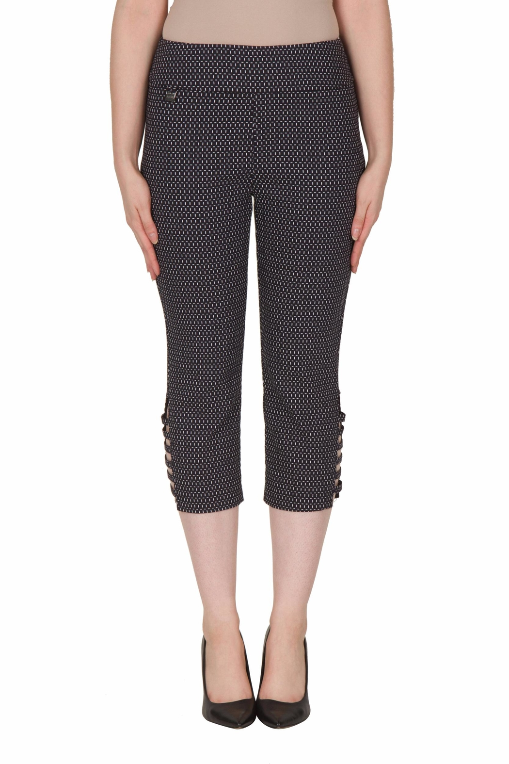 Joseph Ribkoff Cut Out Capri Pant - Front Cropped Image