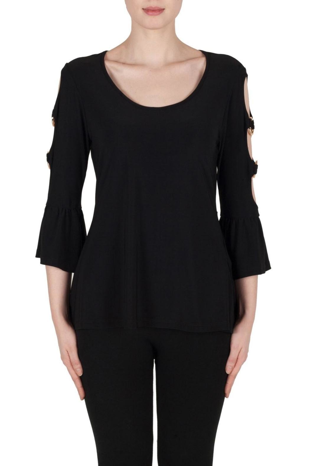 Joseph Ribkoff Cut Out Sleeve Top - Front Cropped Image