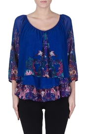Joseph Ribkoff Damask Ruffle Top - Product Mini Image