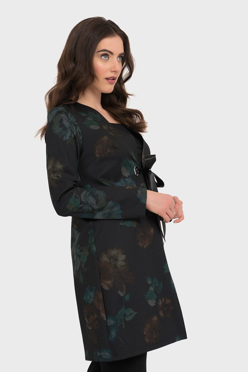 Joseph Ribkoff Dark Floral Jacket - Front Cropped Image
