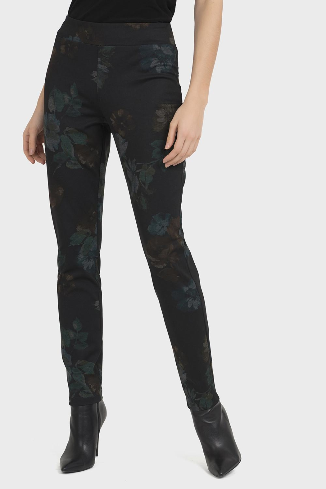 Joseph Ribkoff Dark Floral Pants - Front Cropped Image