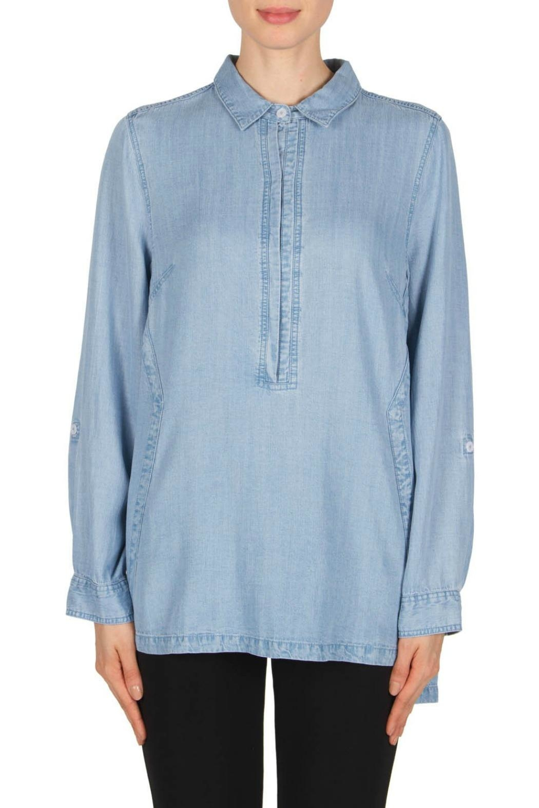 Joseph Ribkoff Denim Blouse Style - Front Cropped Image