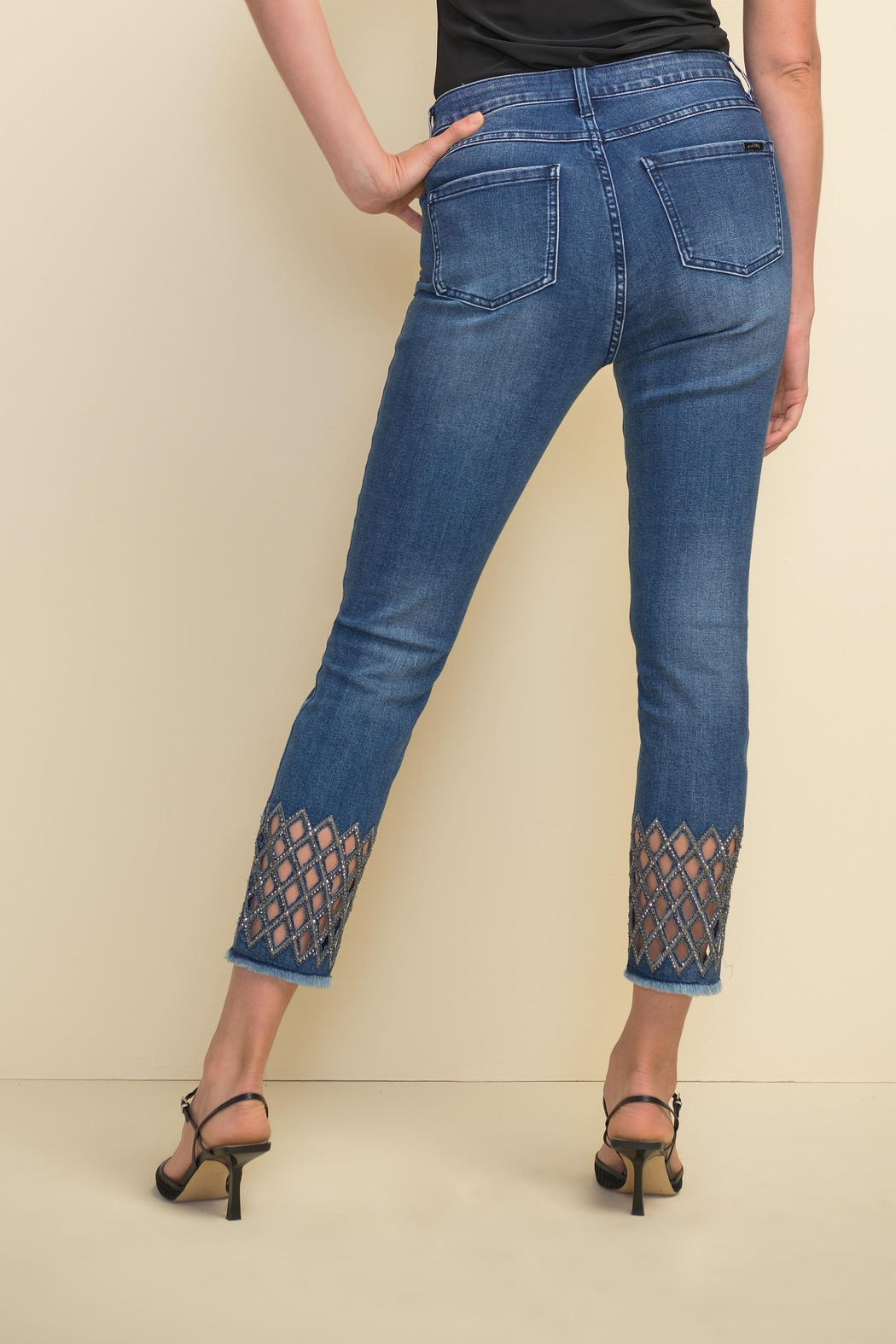 Joseph Ribkoff Diamond-Cut Detail Denim Pant - Side Cropped Image
