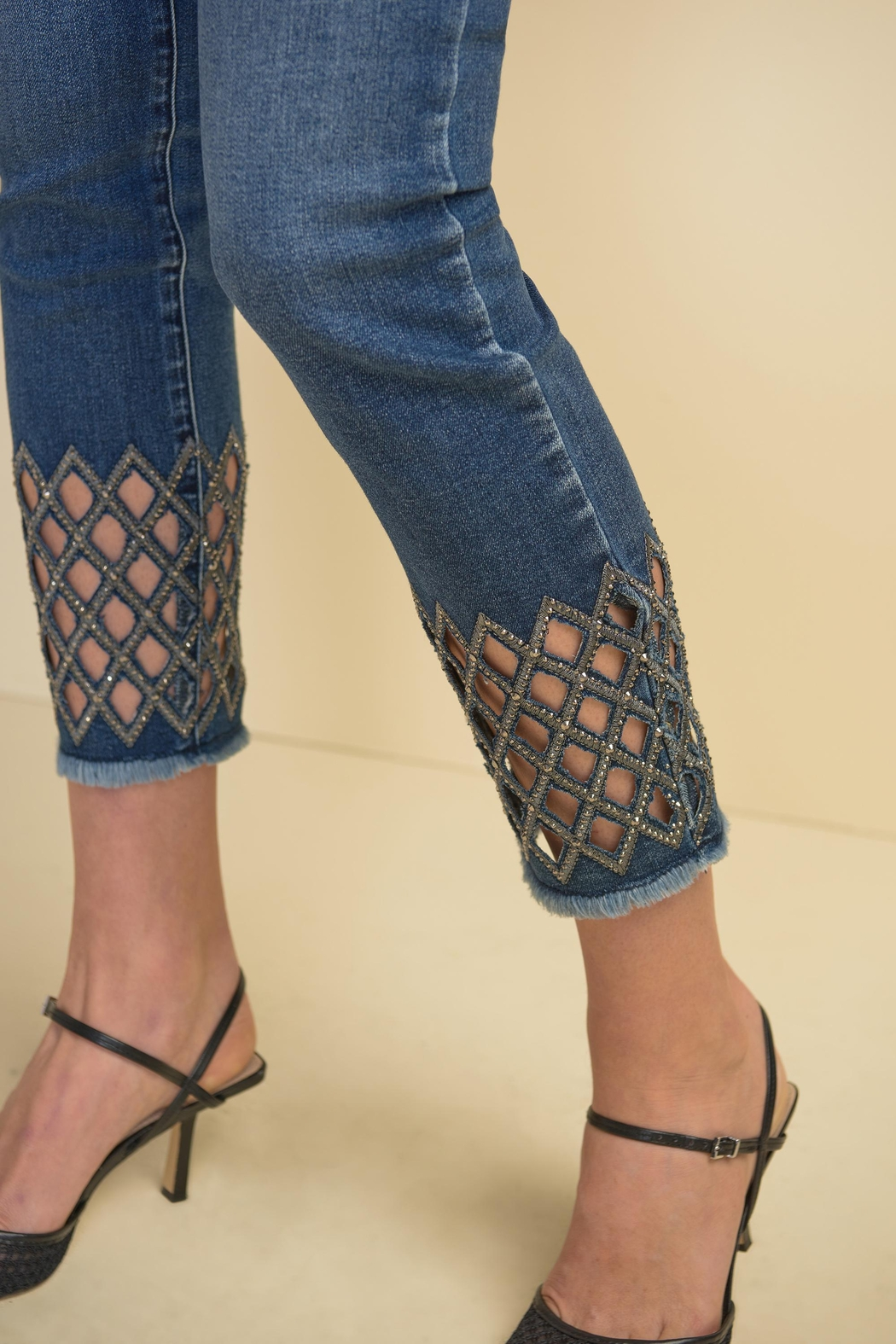 Joseph Ribkoff Diamond-Cut Detail Denim Pant - Front Full Image