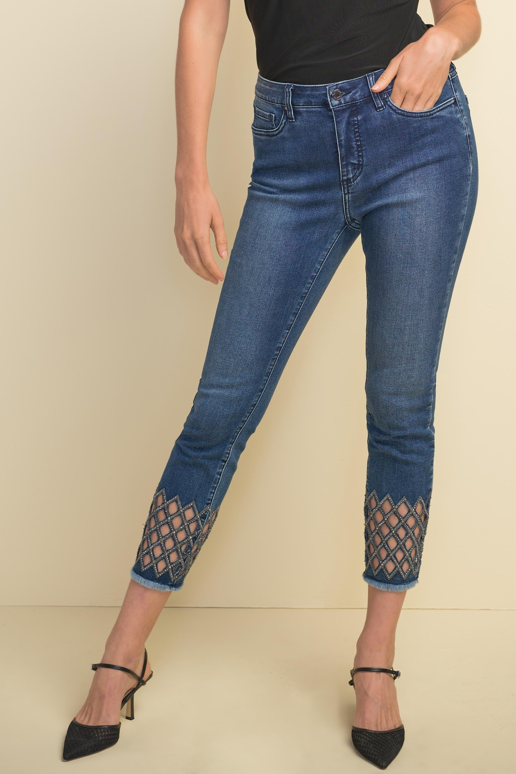 Joseph Ribkoff Diamond-Cut Detail Denim Pant - Main Image