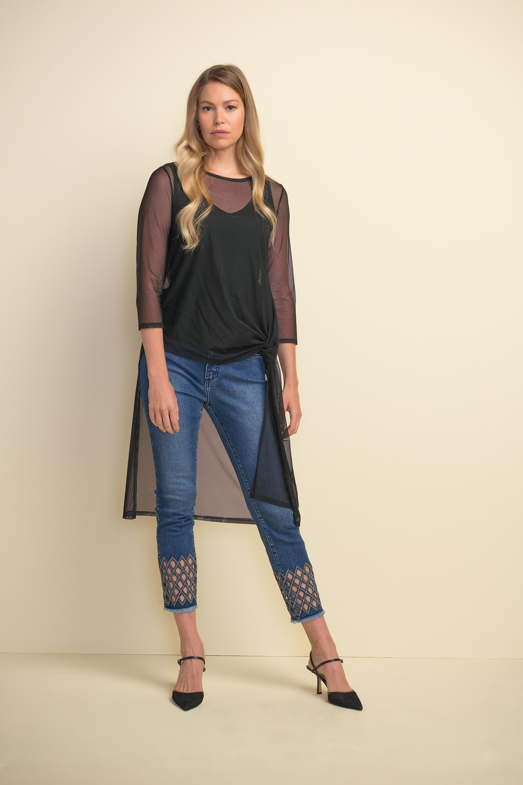 Joseph Ribkoff Diamond-Cut Detail Denim Pant - Back Cropped Image