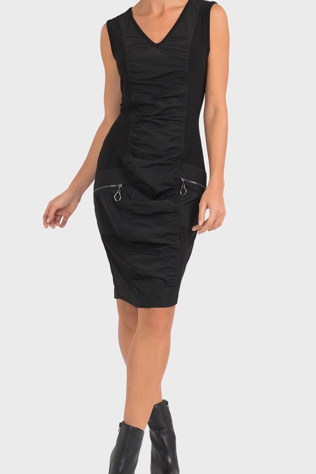 Joseph Ribkoff Edgy Ruched Dress - Front Cropped Image