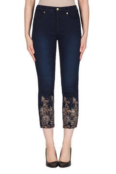 Joseph Ribkoff Embroidered Leg Jean - Product List Image