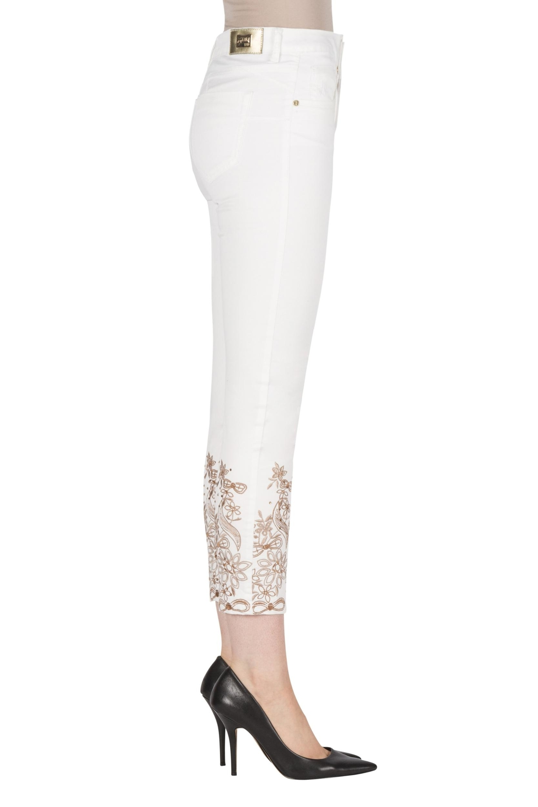 Joseph Ribkoff Embroidered Leg Jean - Front Cropped Image